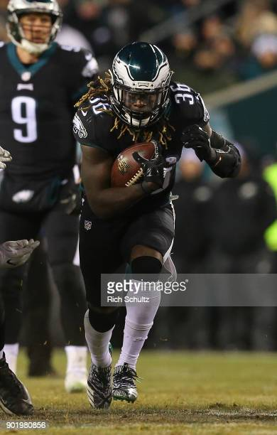 Jay Ajayi of the Philadelphia Eagles in action against the Oakland Raiders during a game at Lincoln Financial Field on December 25 2017 in...