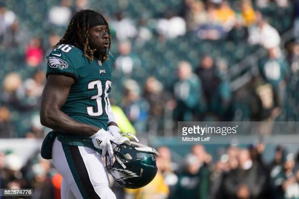 Jay Ajayi of the Philadelphia Eagles looks on prior to the game against the Chicago Bears at Lincoln Financial Field on November 26 2017 in...