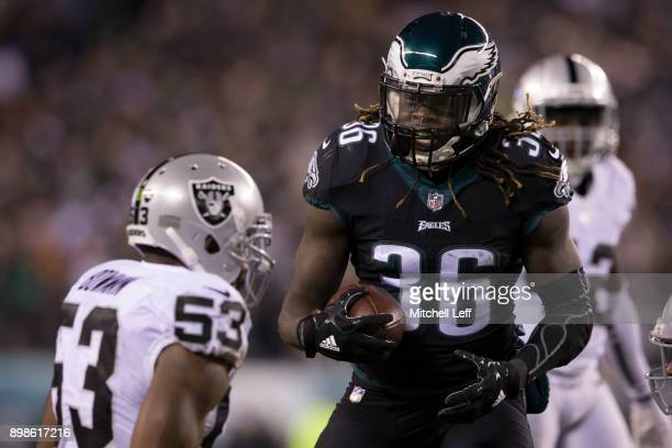 Jay Ajayi of the Philadelphia Eagles reacts in front of NaVorro Bowman of the Oakland Raiders in the first quarter at Lincoln Financial Field on...