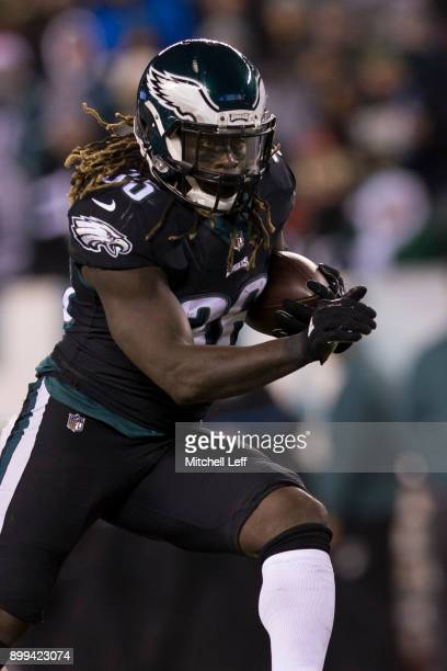Jay Ajayi of the Philadelphia Eagles runs the ball against the Oakland Raiders at Lincoln Financial Field on December 25 2017 in Philadelphia...