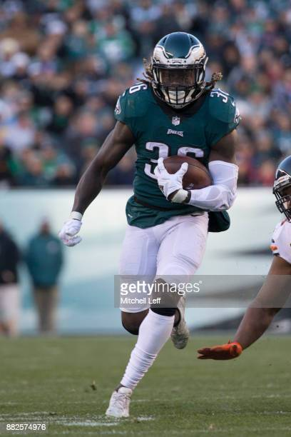 Jay Ajayi of the Philadelphia Eagles runs the ball against the Chicago Bears at Lincoln Financial Field on November 26 2017 in Philadelphia...