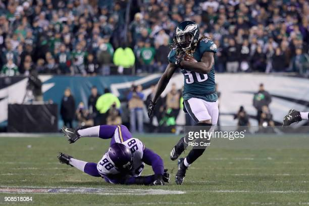 Jay Ajayi of the Philadelphia Eagles runs the ball past Linval Joseph of the Minnesota Vikings during the second quarter in the NFC Championship game...