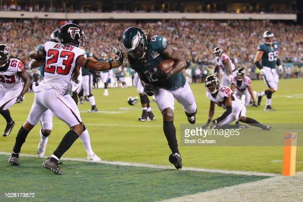 Jay Ajayi of the Philadelphia Eagles rushes for an 11yard touchdown during the fourth quarter against the Atlanta Falcons at Lincoln Financial Field...