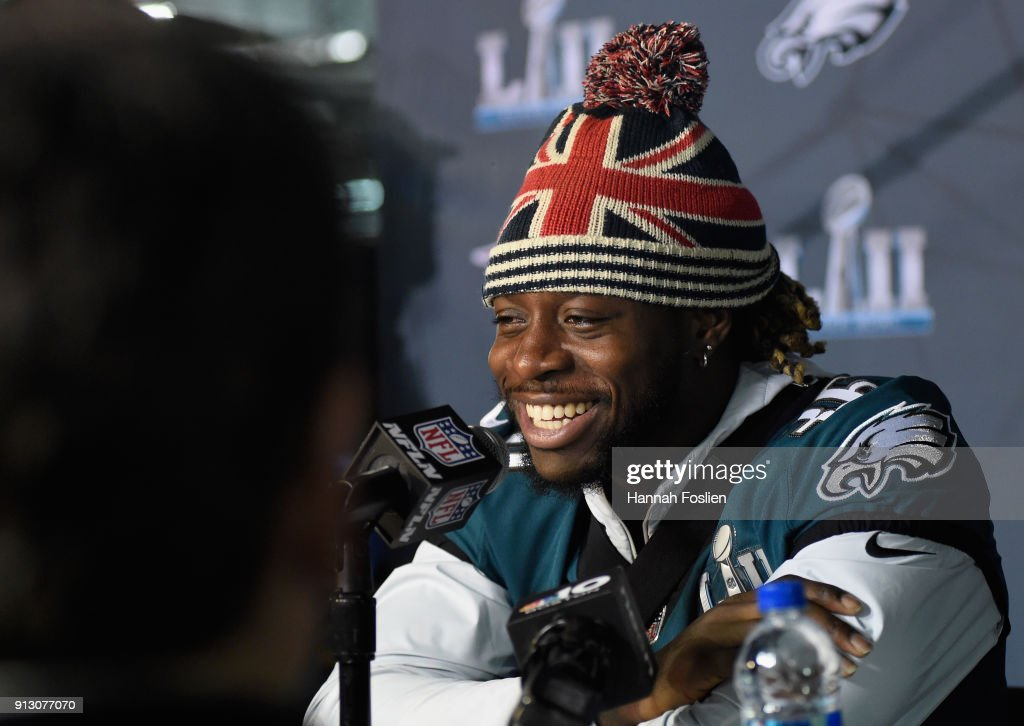Jay Ajayi #36 of the Philadelphia Eagles speaks to the media during Super Bowl LII media availability on February 1, 2018 at Mall of America in Bloomington, Minnesota. The Philadelphia Eagles will face the New England Patriots in Super Bowl LII on February 4th.