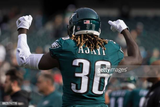 Jay Ajayi of the Philadelphia Eagles warms up prior to the game against the Chicago Bears at Lincoln Financial Field on November 26 2017 in...