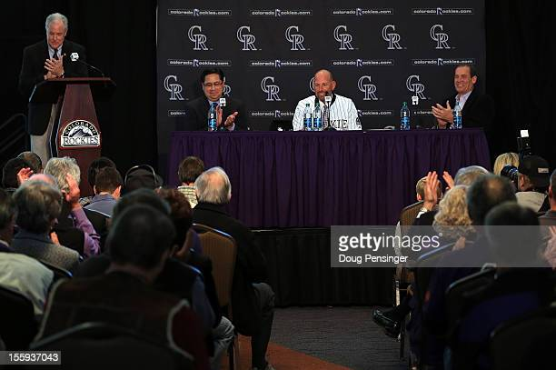 Jay Alves Vice President Communications/Public Relations of the Colorado Rockies conducts the proceedings as Bill Geivett Senior Vice President of...