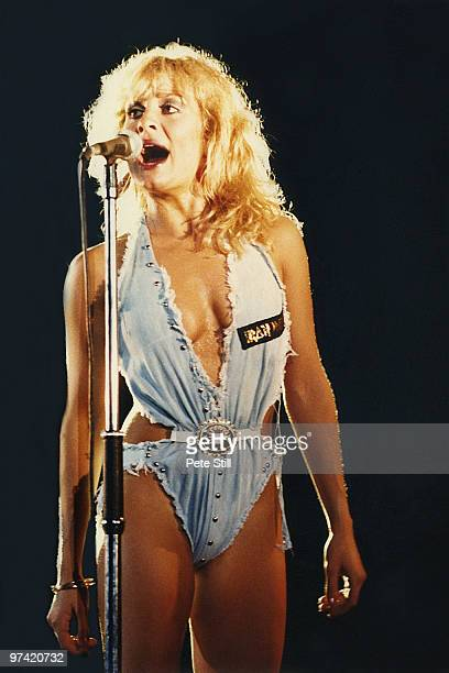 Jay Aston of Bucks Fizz performs on stage at Hammersmith Odeon on July 30th 1982 in London England