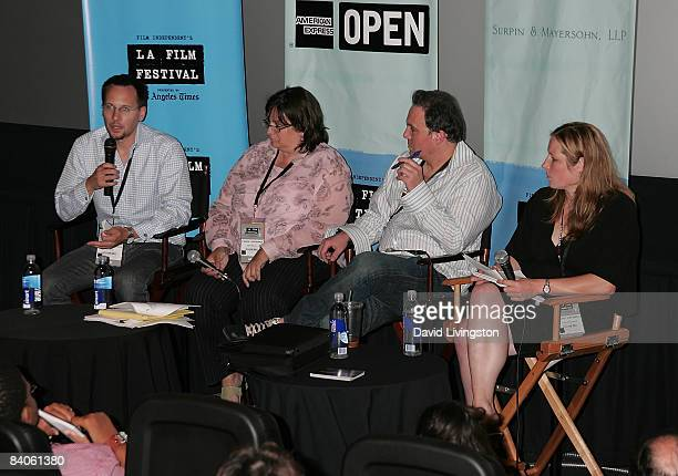 Jay Baage Sallie Weaver Jeff Rosen and Danae Ringelmann attend the Getting Paid in the Digital Age panel at the 2008 Los Angeles Film Festival's...
