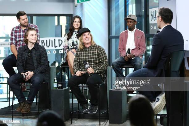Jay Bahadur Bryan Buckley Kiana Madani Barkhad Abdi and Evan Peters speak on stage at Build Series Presents Evan Peters Barkhad Abdi Bryan Buckley...