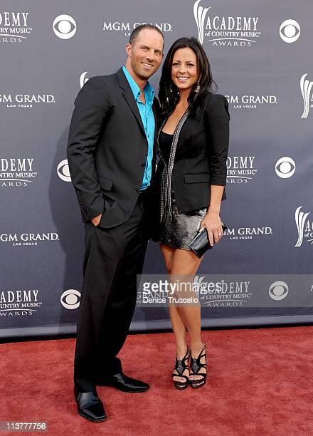 Jay Barker and Sara Evans arrive at the 46th Annual Academy Of Country Music Awards RAM Red Carpet held at the MGM Grand Garden Arena on April 3 2011...