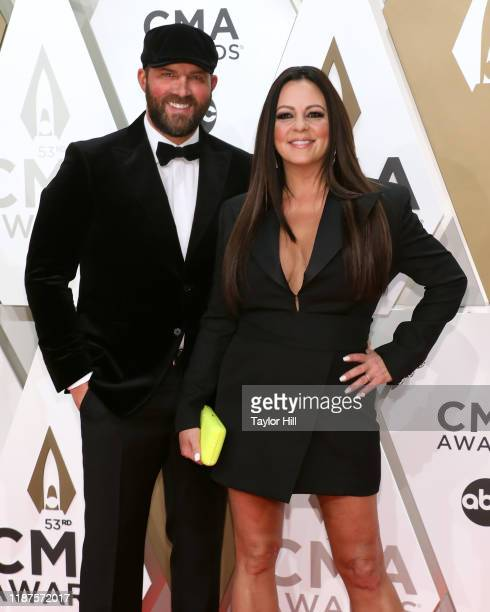 Jay Barker and Sara Evans attend the 53nd annual CMA Awards at Bridgestone Arena on November 13, 2019 in Nashville, Tennessee.