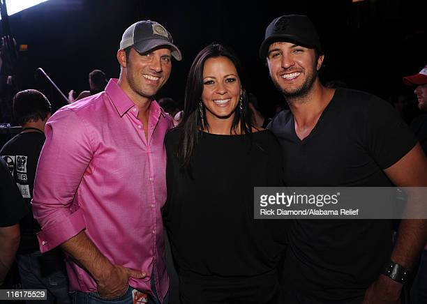 Jay Barker Sara Evans and Luke Bryan attend Bama Rising A Benefit Concert For Alabama Tornado Recovery at the Birmingham Jefferson Convention Complex...