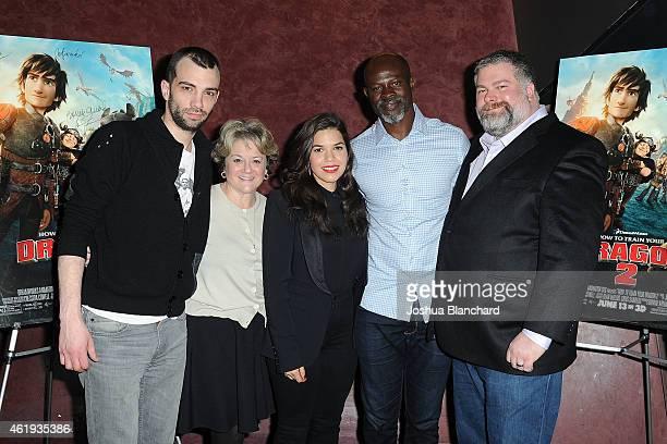 Jay Baruchel Bonnie Arnold America Ferrera Djimon Hounsou and Dean DeBlois arrive at the Awardsline/Deadline Hollywood screening of DreamWorks' How...