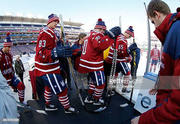 Jay Beagle Marcus Johansson Andre Burakovsky and their Washington Capitals teammates take the ice for practice day prior to the 2015 Bridgestone NHL...