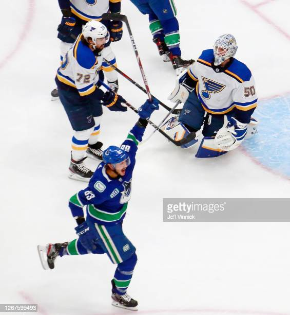 Jay Beagle of the Vancouver Canucks celebrates his goal against Jordan Binnington of the St. Louis Blues at 3:45 of the first period in Game Six of...