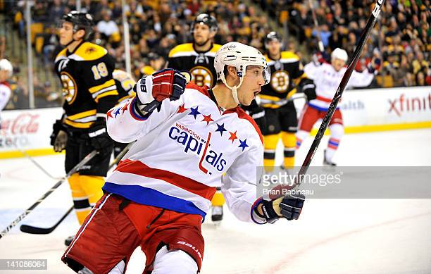 Jay Beagle of the Washington Capitals celebrates a goal against the Boston Bruins at the TD Garden on March 10 2012 in Boston Massachusetts