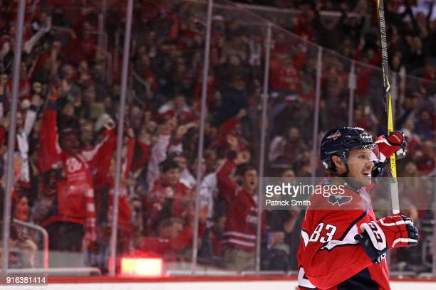 Jay Beagle of the Washington Capitals celebrates his goal against the Columbus Blue Jackets during the second period at Capital One Arena on February...