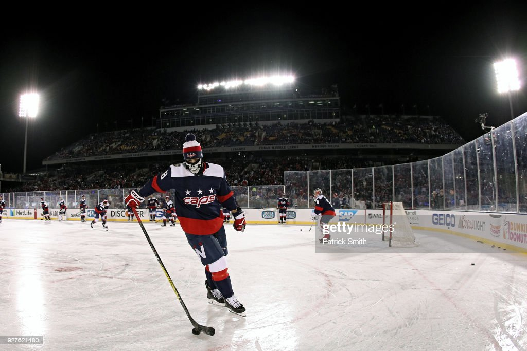 Jay Beagle #83 of the Washington Capitals warms up before playing against the Toronto Maple Leafs during the first period in the Coors Light NHL Stadium Series at Navy-Marine Corps Memorial Stadium on March 3, 2018 in Annapolis, Maryland.