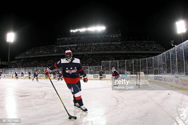 Jay Beagle of the Washington Capitals warms up before playing against the Toronto Maple Leafs during the first period in the Coors Light NHL Stadium...