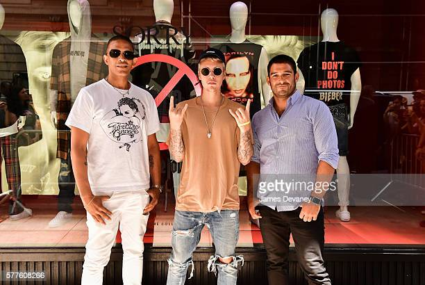 Jay Bell Justin Bieber and Mat Vlasic attend the Purpose Tour XO Barneys New York The Wardrobe Collection on July 18 2016 in New York City