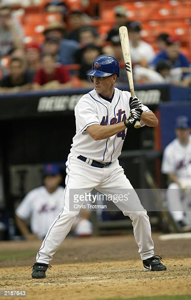 Jay Bell of the New York Mets bats against the Philadelphia Phillies on July 12 2003 at Shea Stadium in Flushing New York The Phillies defeated the...