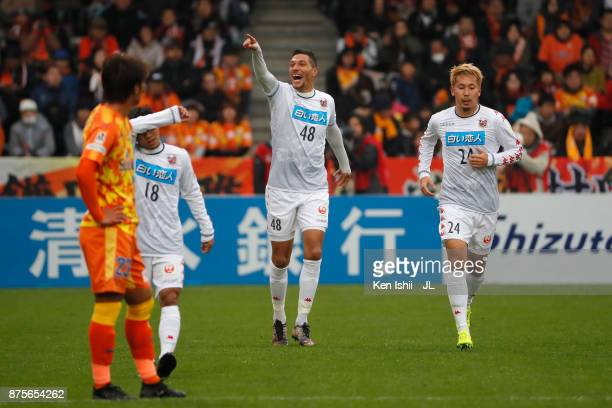 Jay Bothroyd of Consadole Sapporo celebrates scoring the opening goal during the JLeague J1 match between Shimizu SPulse and Consadole Sapporo at IAI...