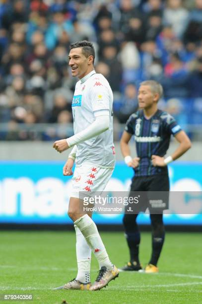 Jay Bothroyd of Consadole Sapporo celebrates scoring the opening goal during the JLeague J1 match between Gamba Osaka and Consadole Sapporo at Suita...
