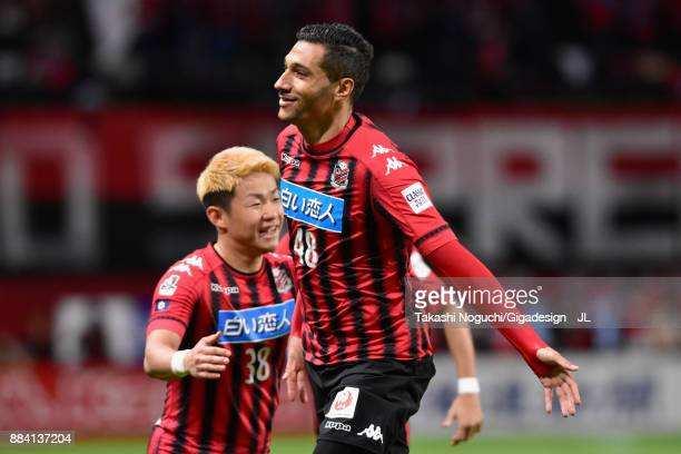 Jay Bothroyd of Consadole Sapporo celebrates scoring the opening goal during the JLeague J1 match between Consadole Sapporo and Sagan Tosu at Sapporo...