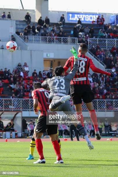 Jay Bothroyd of Consadole Sapporo scores his side's second goal during the J.League J1 match between Consadole Sapporo and Kashiwa Reysol at Sapporo...