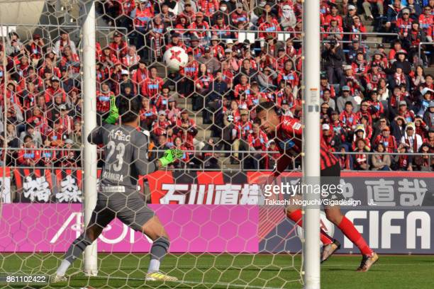 Jay Bothroyd of Consadole Sapporo scores his side's third goal during the J.League J1 match between Consadole Sapporo and Kashiwa Reysol at Sapporo...