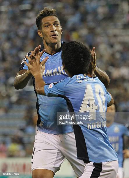 Jay Bothroyd of Jubilo Iwata celebrates scoring his team's first goal with Hayao Kawabe during the JLeague second division match between Jubilo Iwata...