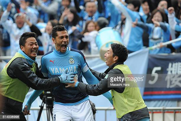 Jay Bothroyd of Jubilo Iwata celebrates the second goal during the JLeague match between Urawa Red Diamonds and Jubilo Iwata at Saitama Stadium on...