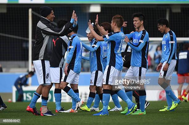 Jay Bothroyd of Jubilo Iwata celebrates their 1st win with his team mates at the opening game during the JLeague second division match between Jubilo...