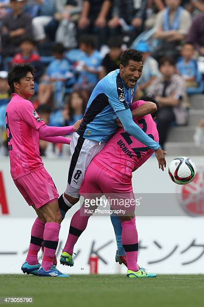Jay bothroyd of Jubilo Iwata competes for the ball against Ken Iwao and Kohei Uchida of Mito Holly Hock compete for the ball during the JLeague...