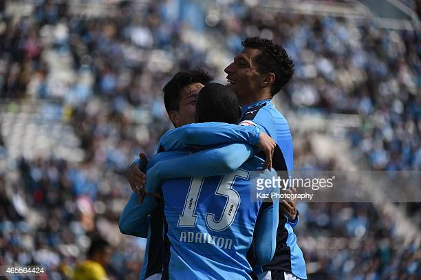 Jay Bothroyd of Jubilo Iwata hugs his team mate Adailton who scores 3rd goal during the JLeague second division match between Jubilo Iwata and...