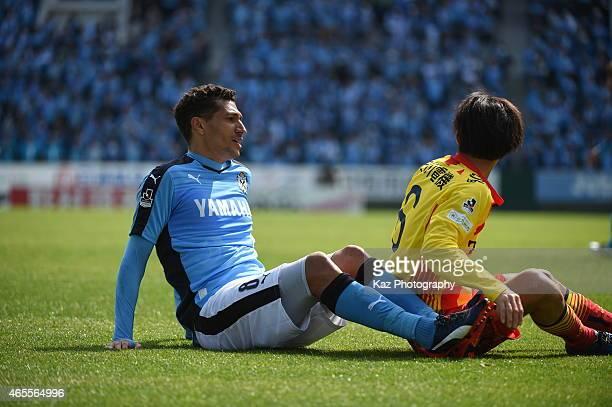 Jay Bothroyd of Jubilo Iwata is colided with Hiroyuki Nishijima of Giravanz Kitakyushu during the JLeague second division match between Jubilo Iwata...