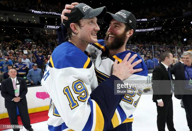 Jay Bouwmeester and Alex Pietrangelo of the St Louis Blues celebrate after defeating the Boston Bruins in Game Seven of the 2019 NHL Stanley Cup...
