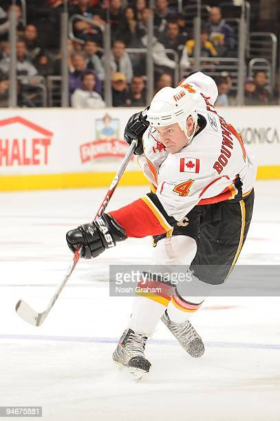 Jay Bouwmeester of the Calgary Flames shoots against the Los Angeles Kings at Staples Center on November 21, 2009 in Los Angeles, California.