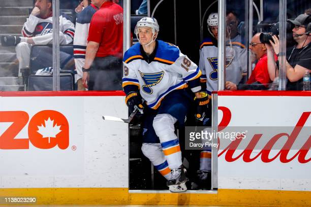 Jay Bouwmeester of the St Louis Blues hits the ice for the start of second period action against the Winnipeg Jets in Game Five of the Western...