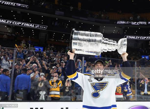 Jay Bouwmeester of the St Louis Blues holds the Stanley Cup following the Blues victory over the Boston Bruins at TD Garden on June 12 2019 in Boston...
