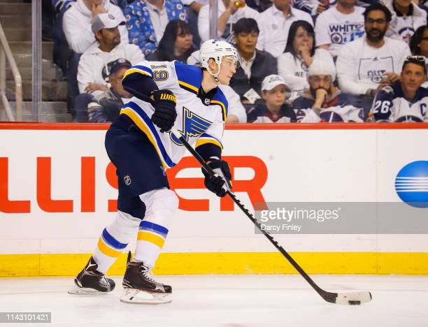 Jay Bouwmeester of the St Louis Blues plays the puck up the ice during second period action against the Winnipeg Jets in Game Two of the Western...