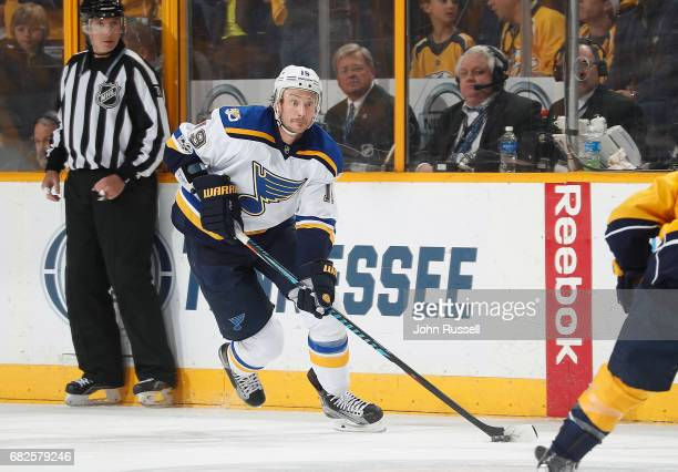 Jay Bouwmeester of the St Louis Blues skates against the Nashville Predators in Game Six of the Western Conference Second Round during the 2017 NHL...