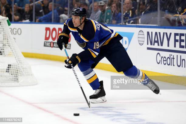 Jay Bouwmeester of the St Louis Blues skates with the puck against the San Jose Sharks during the first period in Game Three of the Western...