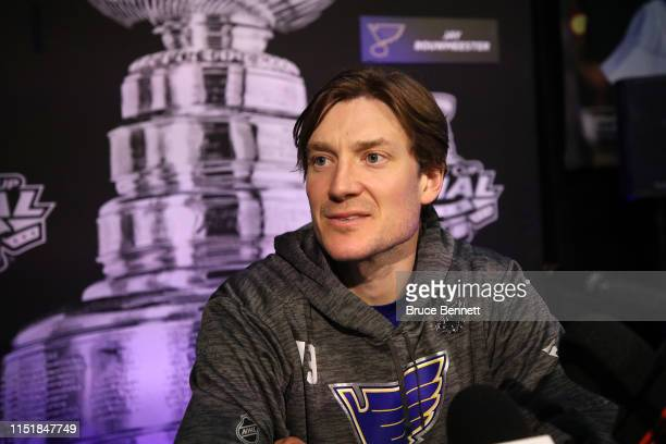 Jay Bouwmeester of the St Louis Blues speaks during Media Day ahead of the 2019 NHL Stanley Cup Final at TD Garden on May 26 2019 in Boston...