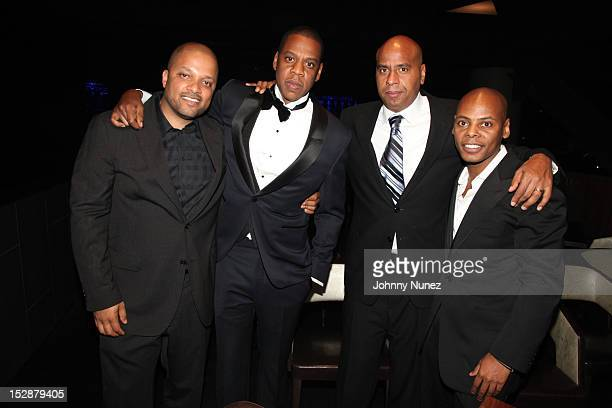 Jay Brown JayZ OG Juan Perez and Tata attend the grand opening of the 40/40 Club at Barclays Center on September 27 2012 in the Brooklyn borough of...