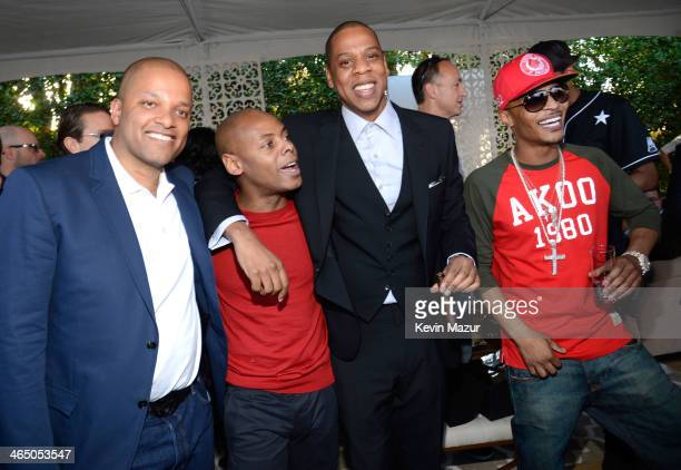 Jay Brown Tyran 'Tata' Smith JayZ and TI attend the Roc Nation PreGRAMMY Brunch presented by MAC Viva Glam at Private Residence on January 25 2014 in...