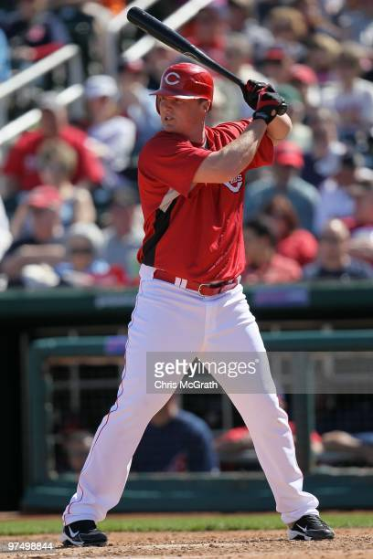 Jay Bruce of the Cincinnati Reds at bat against the Cleveland Indians during a spring training game at Goodyear Ballpark on March 5 2010 in Goodyear...
