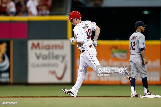 Jay Bruce of the Cincinnati Reds rounds second base after hitting a three run home run during the eighth inning of the game against the Cleveland...