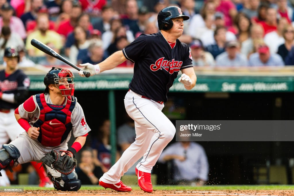 Jay Bruce #32 of the Cleveland Indians hits a single during the second inning against the Boston Red Sox at Progressive Field on August 23, 2017 in Cleveland, Ohio.