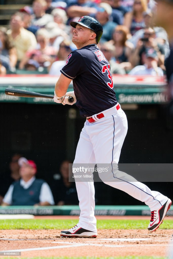 Jay Bruce #32 of the Cleveland Indians hits a three run home run during the first inning against the Detroit Tigers at Progressive Field on September 13, 2017 in Cleveland, Ohio.